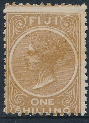 1881-1899 FIJI 1/- PALE BROWN MINT HINGED SG66 Perf 11