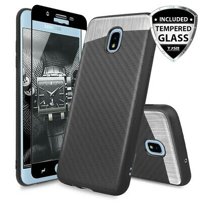 For LG G7 ThinQ Carbon Fiber Armor Phone Case Cover+Black Tempered Glass Screen