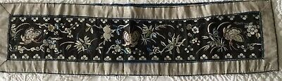 Antique Chinese Silk Embroidery Butterfly Flower Panel