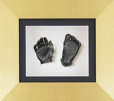 New 3D Baby Hands Feet Casting Kit Gold Effect Display Boxed Frame Pewter