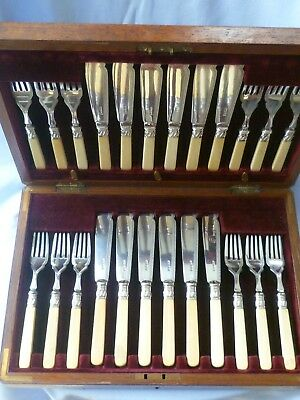 Victorian 24 piece canteen / box set of knives & forks, Allen & Darwin, London.