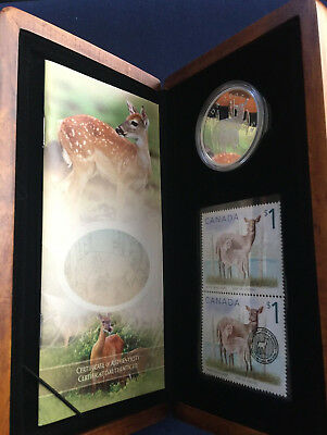 2005 Canada Deer and Fawn $5 Silver Proof Coin and Stamp Set in Case E5424