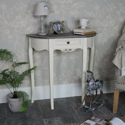 Cream painted half moon console table French chic living room hallway furniture