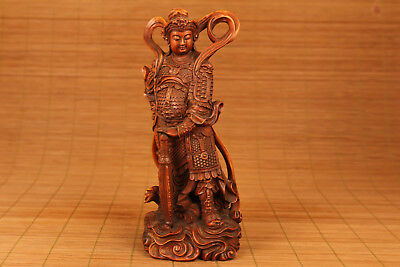 Big Old Boxwood Handmade Carved Japan Buddha Statue Figure