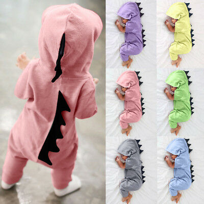 Newborn Infant Baby Boy Girl Dinosaur Hooded Romper Jumpsuit Outfit Clothes UK F