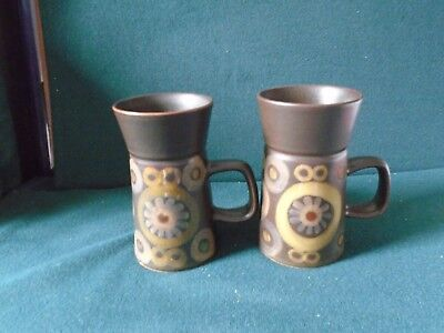 Two Denby Arabesque large mugs