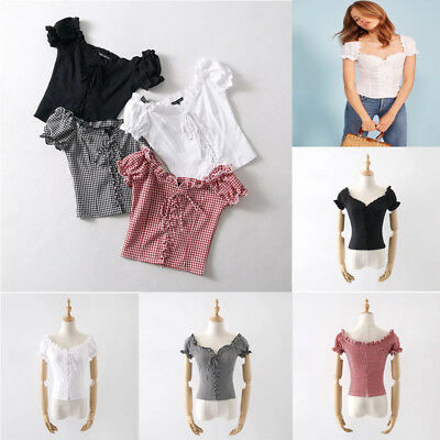 Women Sexy Lace Hollow Out Bandage Short Sleeves T-Shirt Crop Blouse Tops