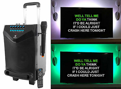 "Rockville 8"" Portable Bluetooth Karaoke Machine/System w/ Wireless Mic+LED Strip"
