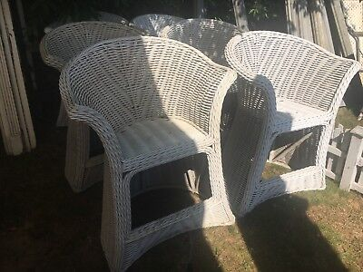 "Set of 6 c1940 Bar Harbor style wicker high seat chair 41.5"" h x 30.5"" x 23"""