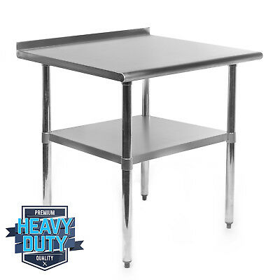 "OPEN BOX - Stainless Steel Kitchen Work Prep Table with Backsplash - 24"" x 30"""