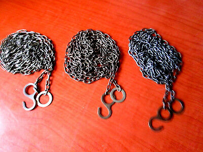 """Lot of 3 Vintage Cuckoo Clock Weight Chains  69""""   62 LPF.   (200W)"""