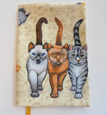 FABRIC Paperback Book Cover Standard Paperback Cats Walking on the Beach Fabric