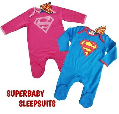 Baby Boys Babygrow Sleepsuits 2 Pack BATMAN SUPERMAN Gift Set 100% Cotton BNWT