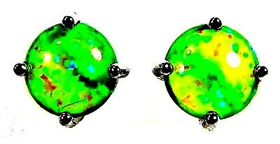 Silver 925 SF Post Earrings 8mm Round Gorgeous Green Lab Fire Opal Cabochon