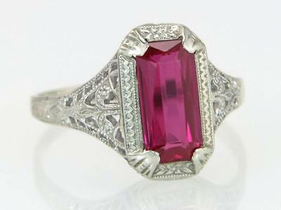 Antique Estate Ostby Barton 10K White Gold Flowers 1.00ct Ruby Art Deco Ring