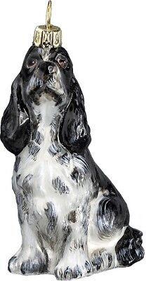 Black and White Springer Spaniel Dog Sitting Polish Glass Christmas Ornament