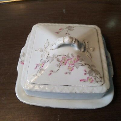 VINTAGE QUALITY CHINA FLORAL  BUTTER / CHEESE DISH Unmarked
