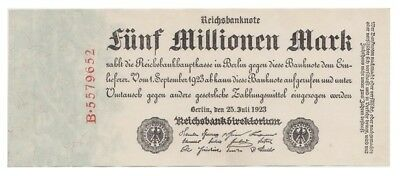 Five Millions Marks German banknote issued in 25.07.1923 B aunc