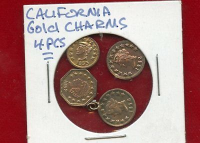 California Gold Charms Group Lot Of 4 Pieces  Misc Dates One Is Looped