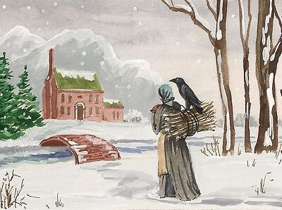 1.5x2 DOLLHOUSE MINIATURE PRINT OF PAINTING RYTA 1:12 SCALE XMAS CROW LANDSCAPE