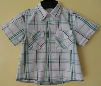 BABY BOY'S 9-12 month SHORT SLEEVE SHIRT 2 POCKETS WHITE/GREEN CHECKED, VGC