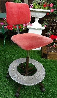 Old Rare Industrial Retro Swivelling Chair With Circular Footrest & Castors