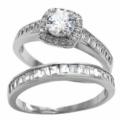 acf6c576c9d 925 STERLING SILVER 1.68 Carat CZ Engagement Ring 3-Piece Wedding ...