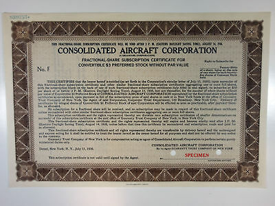 NY. Consolidated Aircraft Corp 1936 Specimen Odd/25ths Shrs XF SBN brown