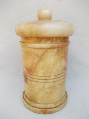 559 / Early 20Th Century Large Heavy Hand Carved Alabaster Jar And Lid