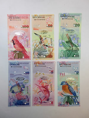 Bermuda Monetary Authority 2009 Specimen Set of 6 $2;$5;$10;$20;$50;$100 Gem Unc