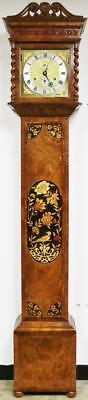 Rare Sinclair Harding Marquetry 8Day Musical 8/4 Bell Longcase Grandfather Clock