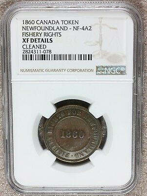 1860 Canada Newfoundland Fishery Rights Token NF-4A2 - NGC XF Details - RARE