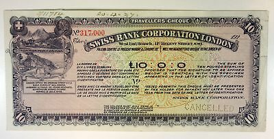 Swiss Bank Corp London SPECIMEN 10 Pounds Sterling 192x Travellers' Cheque BWC