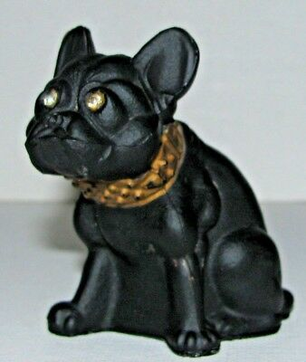 Vintage Tiffin Ohio Black Satin Art Glass French Bull Dog Boston Terrier