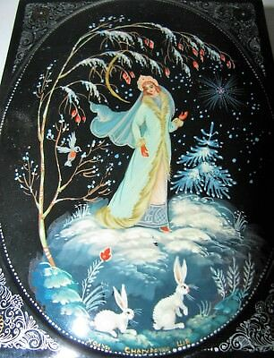 Russian Russia Lacquer Ware Hand Painted Snow Queen Box Signed Cherypoyka