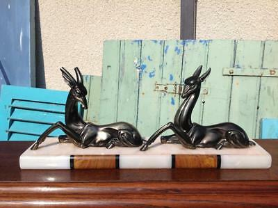 Vintage French Art Deco Marble Mounted Bronzed Spelter Statue Gazelles 30's Chic