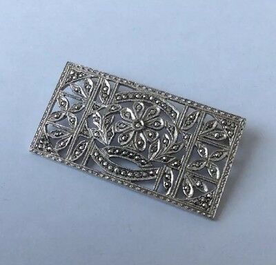 Beautiful Antique Art Deco c1930's Solid Silver Marcasite Panel Brooch / Pin.