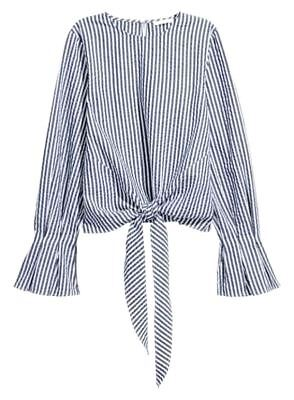 $40 H&M Blue Ivory White Chambray Striped Tie Front Cropped Blouse Shirt 10 S 40