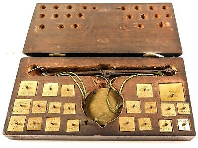 California Gold Rush/Coin Scale Wood Case 21 weights / Ex Clifford/Piedmont Auct