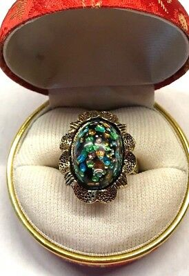 Vintage Jet Black Oval Glass Cabochon with Multicolor Blue Green Yellow Ring