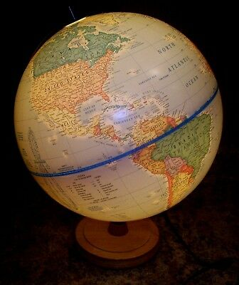 Vintage Classica from Cram Illuminated World Globe  12 Inch with  Wooden Base