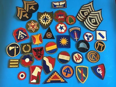 Wwii Era Us Army Patch Lot Of 35 - Primarily Cut Edge