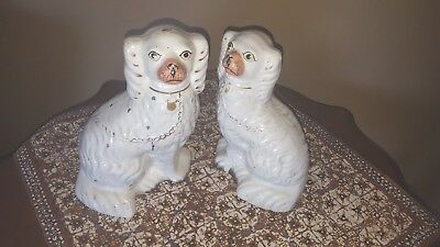 Pair of Antique Staffordshire Spaniel Dogs Statues Hand Painted