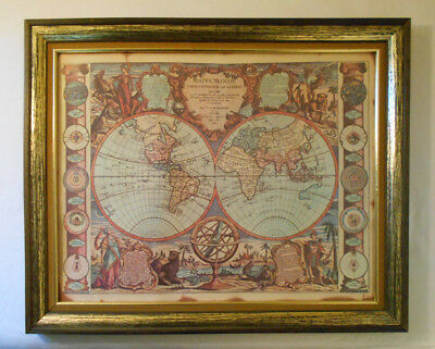 1755 - Antique vtg  Map of THE WORLD MAPPE MONDE HEMISPHERE-made in Paris