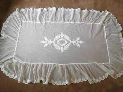 Antique Vintage 1920s Embroidered Net Lace Pillow Layover tambour floral