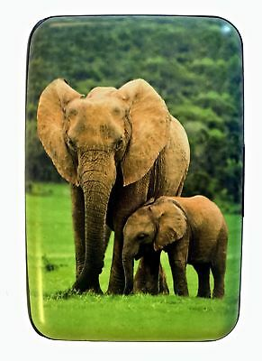 Elephants RFID Secure Theft Protection Credit Card Armored Wallet Wildlife New