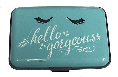 Hello Gorgeous Blue RFID Secure Theft Protection Credit Card Armored Wallet New