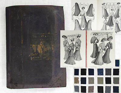 Antique 1903-04 Ladies Clothing Design Book with Fabric Swatches - 35+ pgs