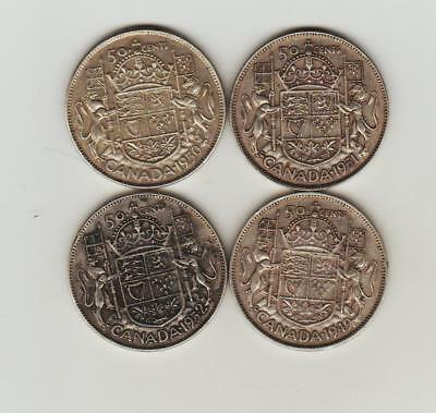 4 Canada 50 Cent silver coins 1949 to 1952