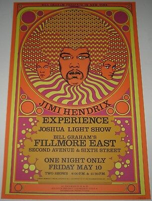 MINT Jimi Hendrix Experience 1968 Poster Limited Run Fillmore East Bill Graham